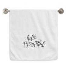 你好美好英文手写艺术 白色毛巾细纤维面巾加厚吸水干发巾34x76cm