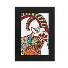 摩羯座星座标志插画图案 实木摆台相框黑色家居装饰画框6寸