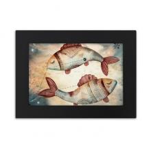 三月二月双鱼星座图案 实木相框摆台黑色家居装饰画框6寸