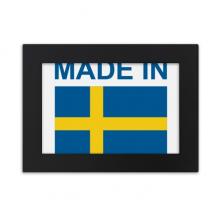 瑞典国旗国家制造 实木相框摆台黑色家居装饰画框6寸