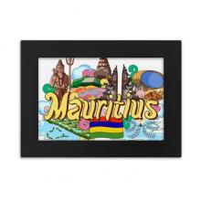 七色土毛里求斯涂鸦 实木相框摆台黑色家居装饰画框6寸