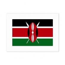 肯尼亚国旗非洲国家象征符号图案 实木相框摆台白色家居装饰画框6寸