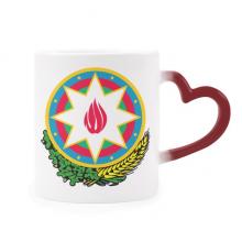 阿塞拜疆巴库国徽 加热变色陶瓷马克杯红色心形把手