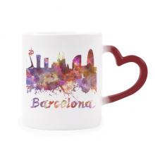 巴塞罗那西班牙城市水彩插画 加热变色陶瓷马克杯红色心形把手