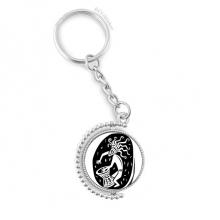抽象古埃及风格艺术装饰花纹艺术剪影 旋转汽车钥匙扣挂件礼物