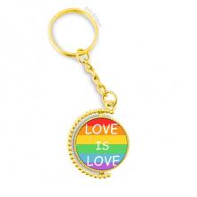 同性恋彩虹旗造型心图案 金色旋转钥匙扣挂件