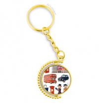 传统士兵英国伦敦建筑 金色旋转钥匙扣挂件