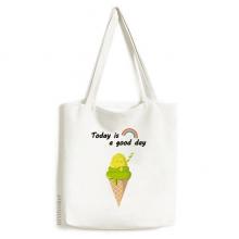 绿色抹茶蛋筒冰淇淋 白色单肩帆布包时尚文艺手提袋