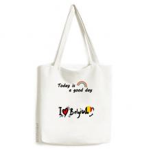 我爱比利时文字爱心国旗艺术字插画图案 白色单肩帆布包时尚文艺手提袋