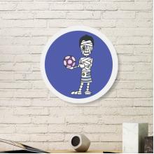 乌拉圭足球运动员卡通木乃伊 圆形家居装饰相画框挂墙画礼品礼物
