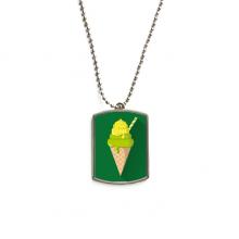 绿色抹茶蛋筒冰淇淋 不锈钢狗牌身份牌项链