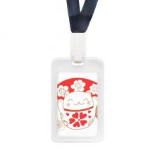 樱花喜庆招财猫扇子日本文化 透明ID信用卡夹保护套
