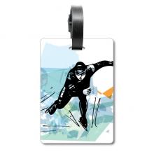 冬季速滑水彩男运动员 旅行箱包标签旅行者识别标牌