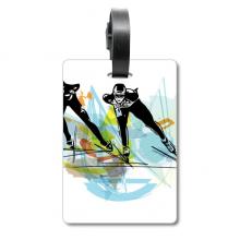 冬季运动速滑水彩运动员 旅行箱包标签旅行者识别标牌