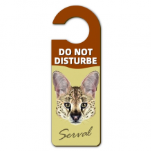 长耳花斑野生山猫动物 警告信息房间干扰门把手挂牌