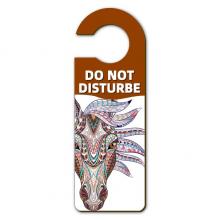 马赛克多种颜色马插画 警告信息房间干扰门把手挂牌