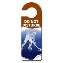 冬季运动滑冰曲棍球水彩图案 警告信息房间干扰门把手挂牌