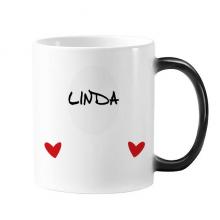手写英文名个性私人订制Linda 加热变色爱情照片陶瓷马克杯