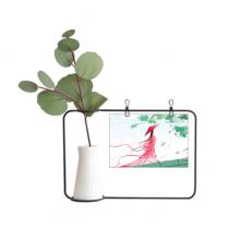 朱红映碧色中国古风插画 金属相框陶瓷花瓶装饰