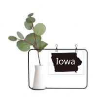 爱荷华州美国地图轮廓 金属相框陶瓷花瓶装饰