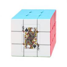 撲克黑桃Q插画纹样 三阶魔方益智玩具游戏