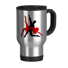 艺术表演交际舞双人舞 不锈钢旅行杯汽车杯带把手杯子450ml礼物