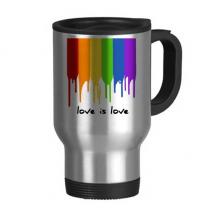 爱就是爱支持LGBT彩虹色 不锈钢旅行杯汽车杯带把手杯子450ml礼物