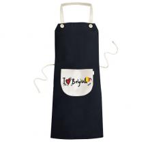我爱比利时文字爱心国旗艺术字插画图案 黑色厨房咖啡餐厅奶茶店工作家居服围裙礼物