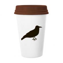 黑色乌鸦动物剪影 陶瓷杯子马克杯带盖锥形水杯礼物