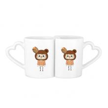 动物熊棕色大自然蜂蜜悠悠 情侣爱情2个马克水杯陶瓷杯子礼物