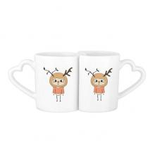 动物鹿大自然叶子棕色悠悠 情侣爱情2个马克水杯陶瓷杯子礼物