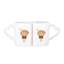 动物狗大自然淘气骨头悠悠 情侣爱情2个马克水杯陶瓷杯子礼物