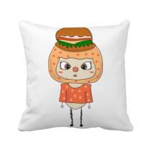 食物汉堡面包菜酱脂肪悠悠 方形抱枕睡眠靠枕沙发靠垫双面含芯