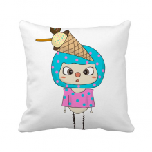 食物冰淇淋冰甜的夏天悠悠 方形抱枕睡眠靠枕沙发靠垫双面含芯
