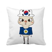 韩国家亚洲首尔国旗悠悠 方形抱枕睡眠靠枕沙发靠垫双面含芯