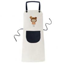 动物熊棕色大自然蜂蜜悠悠 米色厨房咖啡餐厅奶茶店工作家居服围裙礼物