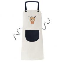 动物鹿大自然叶子棕色悠悠 米色厨房咖啡餐厅奶茶店工作家居服围裙礼物