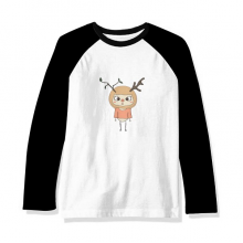 动物鹿大自然叶子棕色悠悠 长袖黑白上衣连肩T恤衫