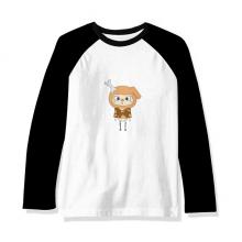 动物狗大自然淘气骨头悠悠 长袖黑白上衣连肩T恤衫