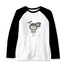 动物考拉大自然懒惰叶子悠悠 长袖黑白上衣连肩T恤衫