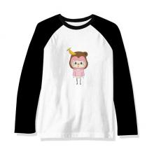 动物猴子大自然淘气香蕉悠悠 长袖黑白上衣连肩T恤衫