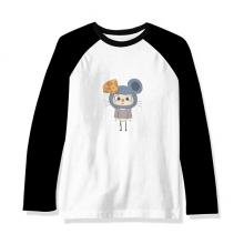 动物老鼠大自然灰色奶酪悠悠 长袖黑白上衣连肩T恤衫