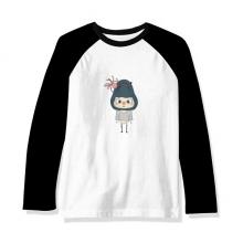 动物鲨鱼大自然大海鱼悠悠 长袖黑白上衣连肩T恤衫