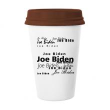 美国总统人物拜登文字排版 陶瓷杯子马克杯带盖锥形水杯礼物