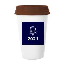美国总统人物乔年份蓝色 陶瓷杯子马克杯带盖锥形水杯礼物