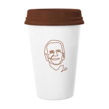 美国总统人物乔艺术头像 陶瓷杯子马克杯带盖锥形水杯礼物